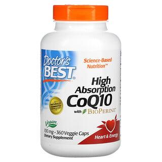 Doctor's Best, коэнзимQ10 с высокой степенью всасывания, с BioPerine, 100мг, 360вегетарианских капсул