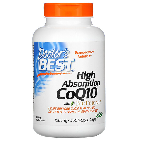 High Absorption CoQ10 with BioPerine, 100 mg, 360 Veggie Caps