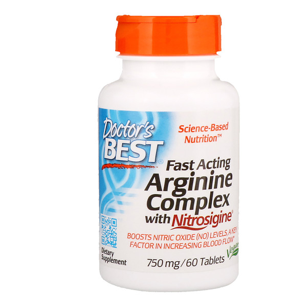 Fast Acting Arginine Complex with Nitrosigine, 750 mg, 60 Tablets