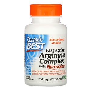 Докторс Бэст, Fast Acting Arginine Complex with Nitrosigine, 750 mg, 60 Tablets отзывы