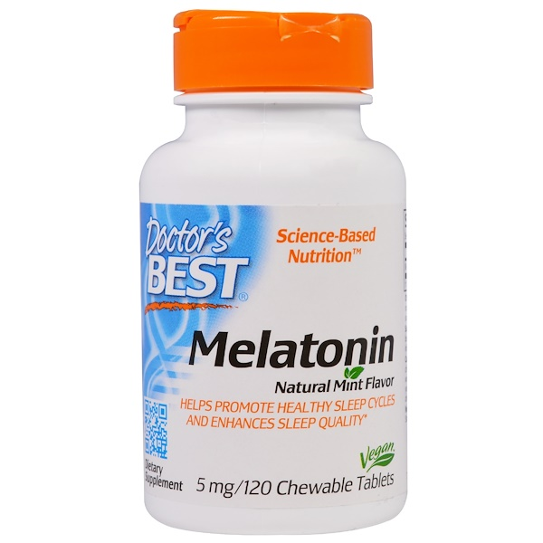 Doctor's Best, Melatonin, Natural Mint Flavor, 5 mg, 120 Chewable Tablets