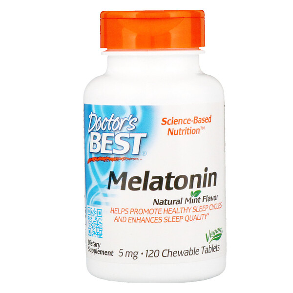 Melatonina, Sabor a Menta Natural, 5 mg, 120 Tabletas Masticables