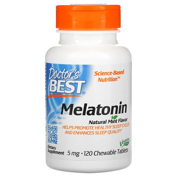 Melatonina, Sabor Natural de Menta, 5 mg, 120 Comprimidos Mastigáveis