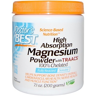 Doctor's Best, High Absorption Magnesium Powder with TRAACS, 7.1 oz (200 g)