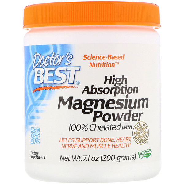 Doctor's Best, High Absorption Magnesium Powder 100% Chelated with Albion Minerals, 7.1 oz (200 g)