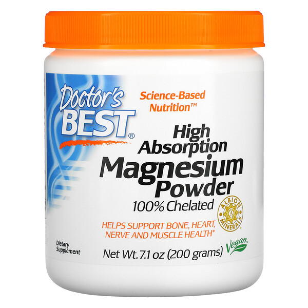 Doctor's Best, High Absorption Magnesium Powder, 100% Chelated with Albion Minerals, 7.1 oz (200 g)