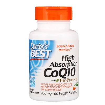 Doctors Best Кофермент Q10 с высокой степенью усваивания и биоперином, 200 мг, 60 вегетарианских мягких желатиновых капсул