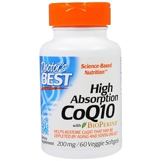 Doctor's Best, High Absorption CoQ10 with BioPerine, 200 mg, 60 Veggie Softgels