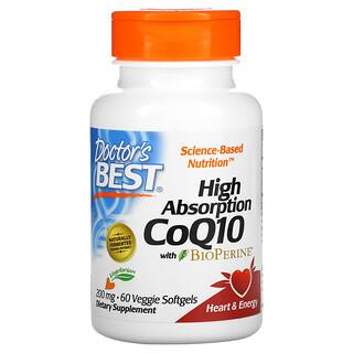 Doctor's Best, 高吸收輔酶 Q10,含 BioPerine,200 毫克,60 粒素食軟凝膠
