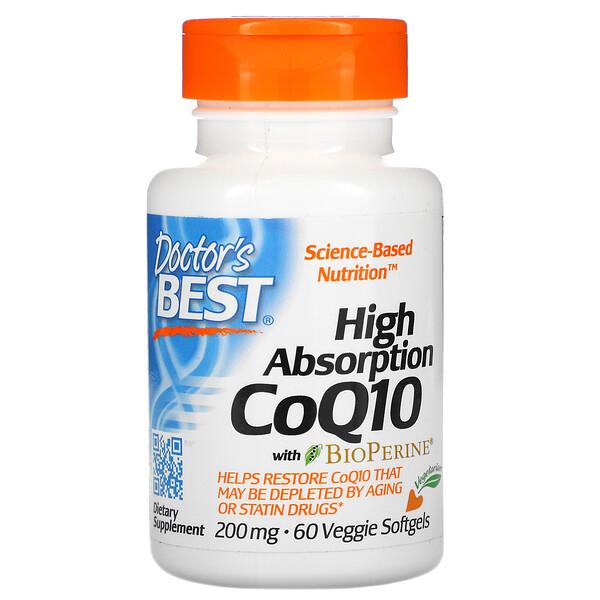 High Absorption CoQ10 with BioPerine, 200 mg, 60 Veggie Softgels