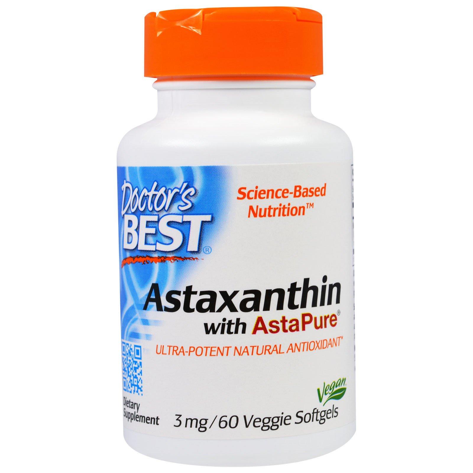 Doctor's Best, Астаксантин с AstaPure, 3 мг, 60 вегетарианских мягких желатиновых капсул