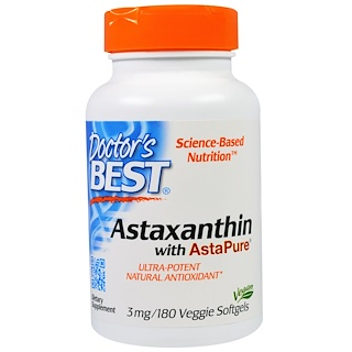 Doctor's Best, Astaxanthin With AstaPure, 3 mg, 180 Veggie Softgels