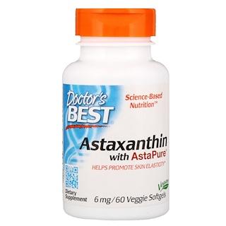 Doctor's Best, アスタピュアを含むアスタキサンチン、6 mg、ベジソフトジェル60錠