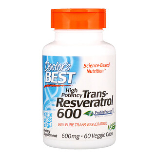 Doctor's Best, High Potency Trans-Resveratrol 600, 600 mg, 60 Veggie Caps