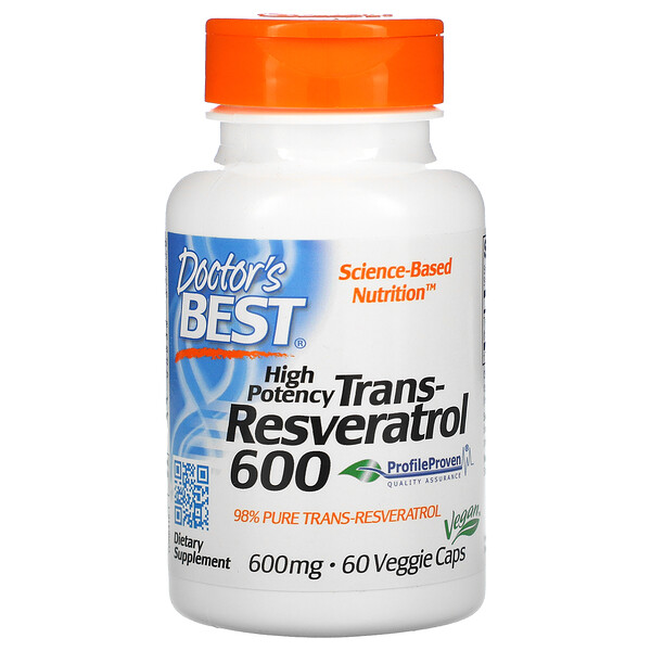 High Potency Trans-Resveratrol 600, 600 mg, 60 Veggie Caps