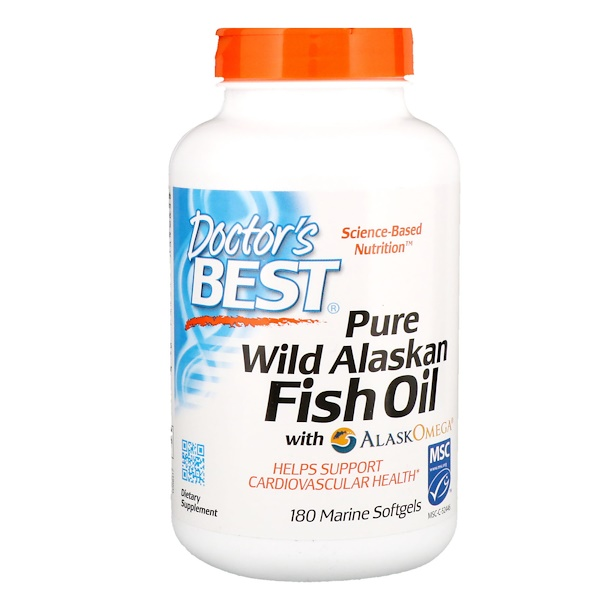 Doctor's Best, Pure Wild Alaskan Fish Oil with AlaskOmega, 180 Marine Softgels