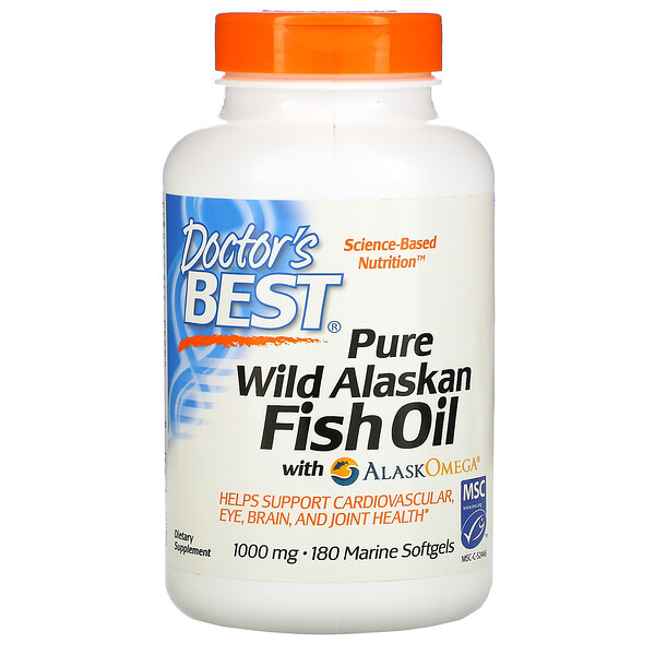 Pure Wild Alaskan Fish Oil with AlaskOmega, 1,000 mg, 180 Marine Softgels