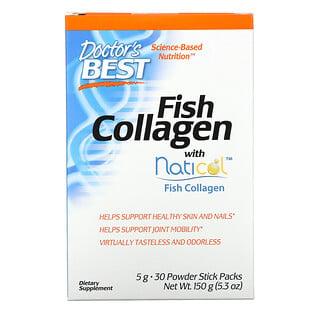 Doctor's Best, Colágeno de pescado con Naticol, 5g, 30sobrecitos en polvo