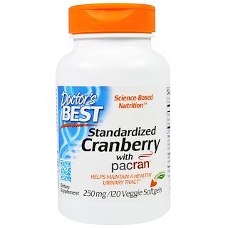 Doctor's Best, Standardized Cranberry with Pacran, 250 mg, 120 Veggies Softgels