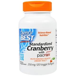 Doctor's Best, パクラン入りクランベリー標準化、250 mg、ベジタブルソフトジェル120錠
