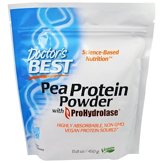 Doctor's Best, Pea Protein Powder with ProHydrolase, 15.8 oz (450 g)