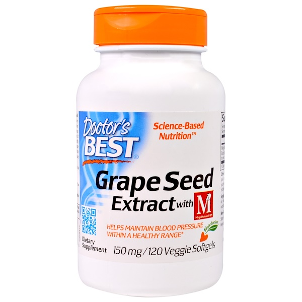 Doctor's Best, Grape Seed Extract with MegaNatural-BP, 150 mg, 120 Veggie Caps