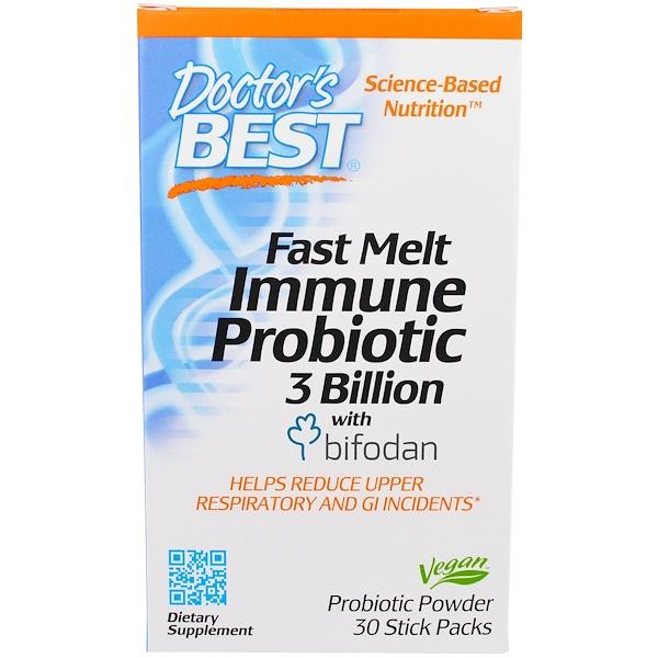 Doctor's Best, Fast Melt Immune Probiotic 3 Billion with Bifodan, 30 Stick Packs (Discontinued Item)