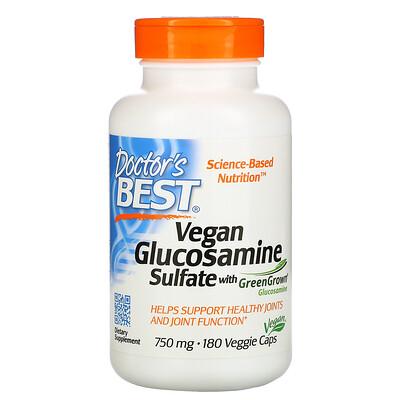 Doctors Best Веганский глюкозамин сульфат с глюкозамином GreenGrown, 750мг, 180вегетарианских капсул