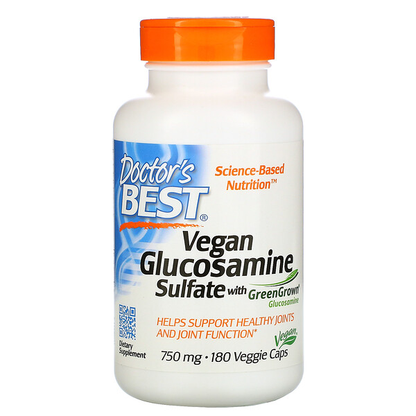 Vegan Glucosamine Sulfate with GreenGrown Glucosamine, 750 mg, 180 Veggie Caps