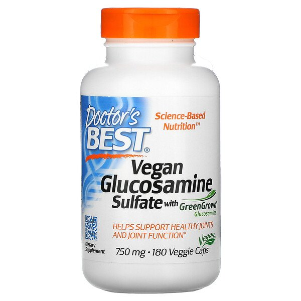 Vegan Glucosamine Sulfate with GreenGrown Glucosamine, 750mg, 베지 캡슐 180정