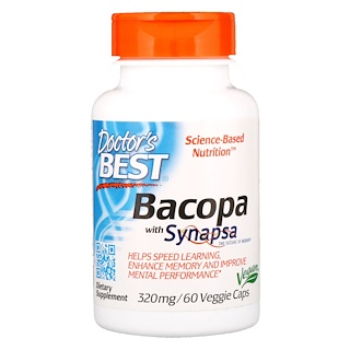 Doctor's Best, Bacopa con Synapsa, 320 mg, 60 cápsulas vegetarianas