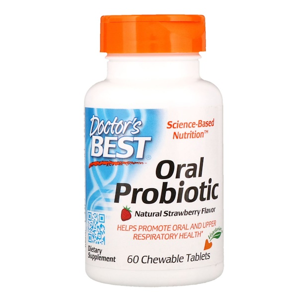 Doctor's Best, Oral Probiotic, Natural Strawberry Flavor , 60 Chewable Tablets