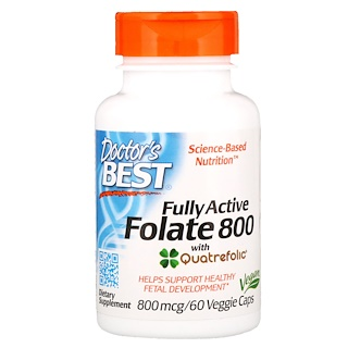 Doctor's Best, Fully Active Folate 800, 800 mcg, 60 Veggie Caps