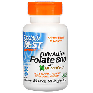Doctor's Best, Fully Active Folate 800, 800 mcg, 60 Veggie Caps
