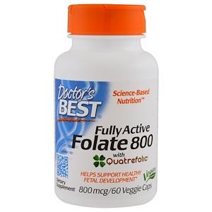 Doctor's Best, Активный фолат 800, 800 мкг, 60 капсул в растительной оболочке