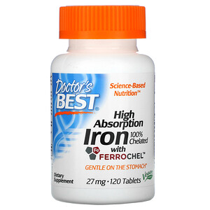 Докторс Бэст, High Absorption Iron with Ferrochel, 27 mg, 120 Tablets отзывы покупателей