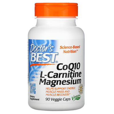Doctors Best коэнзим Q10, L-карнитин и магний, 90 вегетарианских капсул
