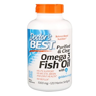 Doctor's Best, Purified & Clear Omega 3 Fish Oil, 1000 mg, 120 Marine Softgels