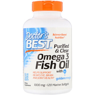 Doctor's Best, Purified & Clear Omega 3 Fish Oil with Goldenomega, 1000 mg, 120 Marine Softgels