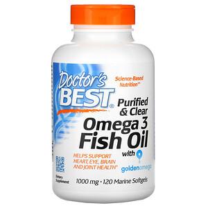 Докторс Бэст, Purified & Clear Omega 3 Fish Oil with Goldenomega, 1,000 mg, 120 Marine Softgels отзывы покупателей