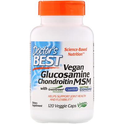 Купить Doctor's Best Глюкозамин, хондроитин и метилсульфонилметан для веганов, 120растительных капсул