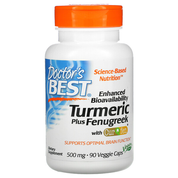 Doctor's Best, Enhanced Bioavailability Turmeric Plus Fenugreek, 500 mg, 90 Veggie Caps (Discontinued Item)