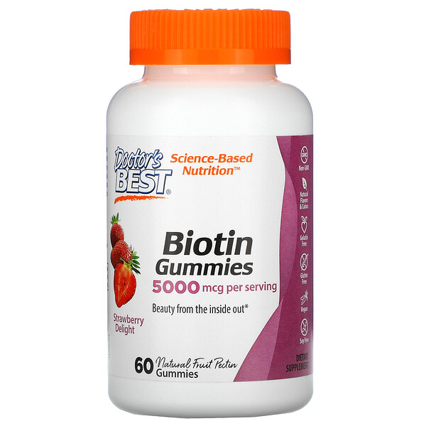 Biotin Gummies, Strawberry Delight, 5,000 mcg, 60 Gummies