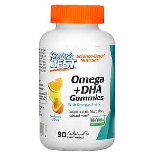 Doctor's Best, Omega + DHA with Omega 3-6-9, Seriously Citrus, 90 Gummies