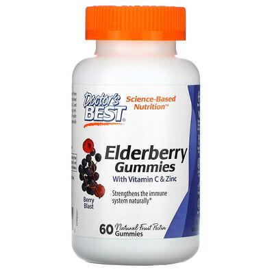 Doctor's Best Жевательные таблетки из бузины с витамином С и цинком, ягодный взрыв, 60 жевательных конфет