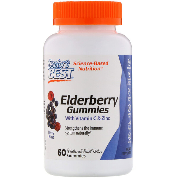 Doctor's Best, Elderberry Gummies with Vitamin C & Zinc, Berry Blast, 60 Gummies