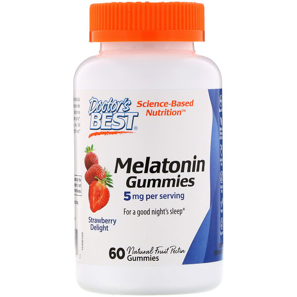 Doctor's Best, Melatonin Gummies, Strawberry Delight, 5 mg, 60 Gummies