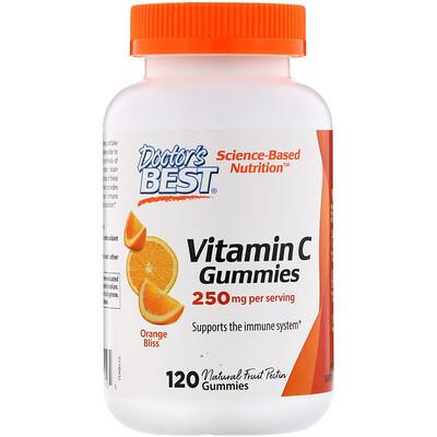 Купить Doctor's Best Жевательные таблетки с витаминомC, с апельсиновым вкусом, 250мг, 120таблеток