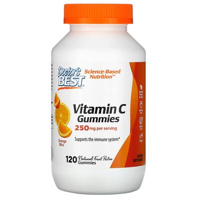 Doctor's Best Жевательные таблетки с витаминомC, с апельсиновым вкусом, 250мг, 120таблеток