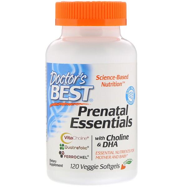 Doctor's Best, רכיבים חיוניים טרום לידה עם כולין ו-DHA, 120 כמוסות רכות צמחיות